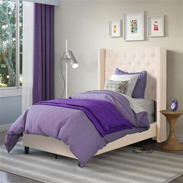 CorLiving Cream 50-in X 82-in Fabric Upholstered Twin Bed