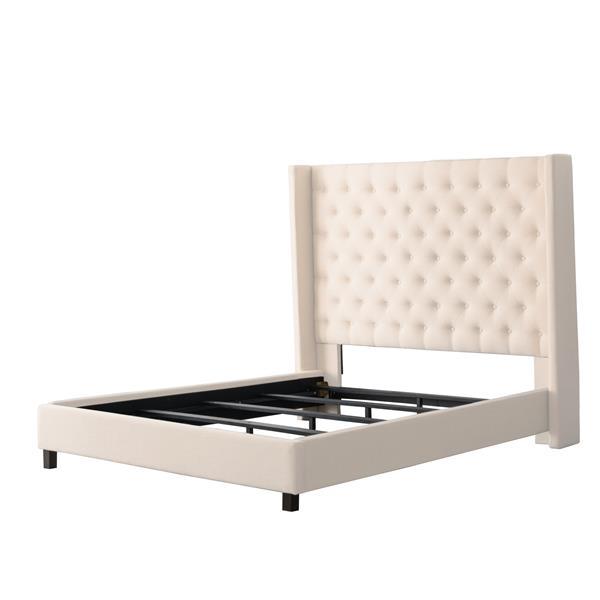CorLiving Cream 71-in X 87-in Fabric Upholstered Queen Bed