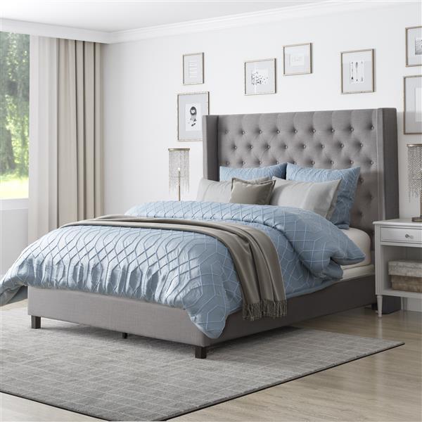 CorLiving Grey 71-in X 87-in Fabric Upholstered Queen Bed