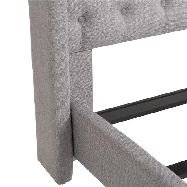 CorLiving Grey 87-in X 87-in Fabric Upholstered King Bed