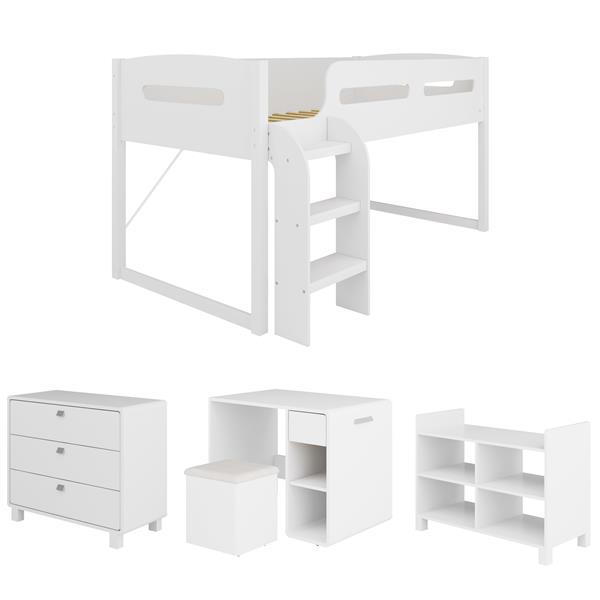 CorLiving Madison Collection White 80-in X 50-in Loft Bed