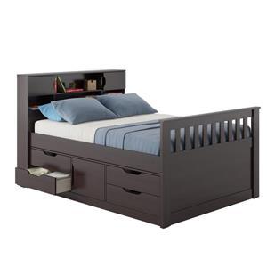 CorLiving Brown 58-in X 86-in Full Captain Bed
