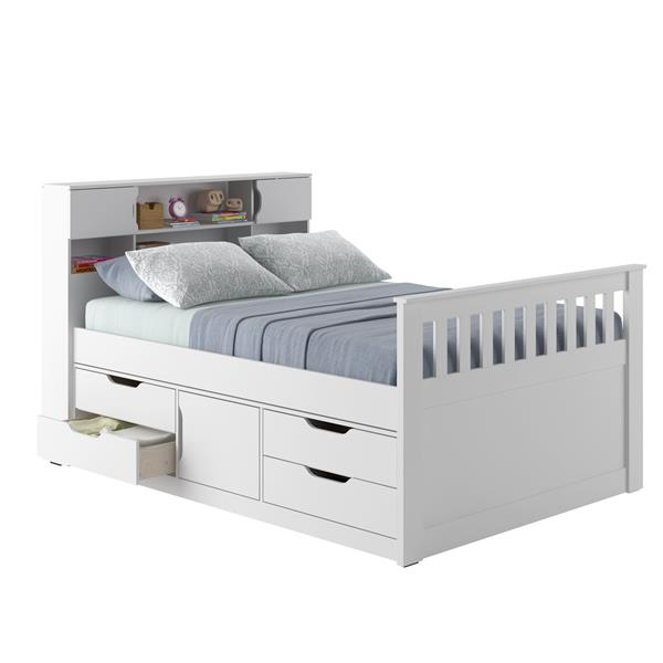 CorLiving White 58-in X 86-in Full Captain Bed