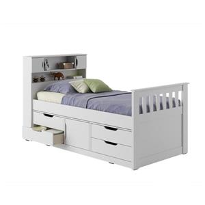 CorLiving White 43-in X 86-in Twin Captain Bed