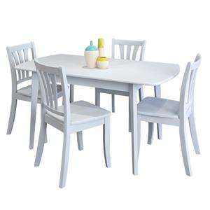 CorLiving Extendable White 5 Piece Solid Wood Dining Set
