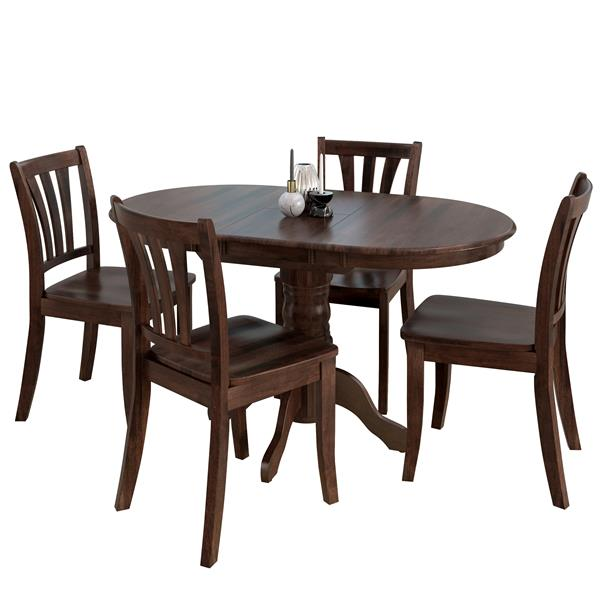 Corliving Extendable Cappuccino 5 Piece Solid Wood Dining Set