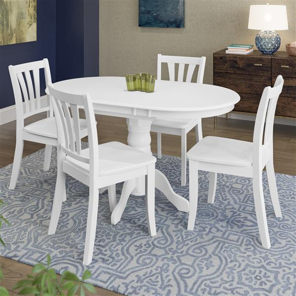 CorLiving Extendable White 5 Piece Wooden Dining Set