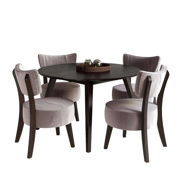 Corliving Cappuccino and Grey  5 piece Dining Set with Velvet Chairs