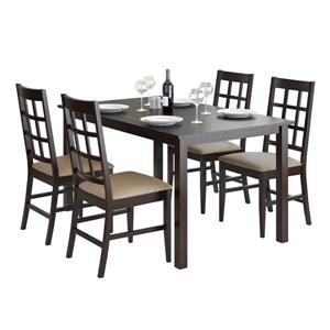 CorLiving Cappuccino and Taupe 5 piece Leatherette Dining Set