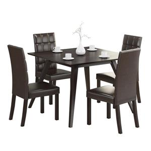 CorLiving 5-Piece Cappuccino and Brown Leatherette Dining Set with 4 Chairs