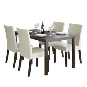 CorLiving Cappuccino and Cream 5 piece Leatherette Dining Set