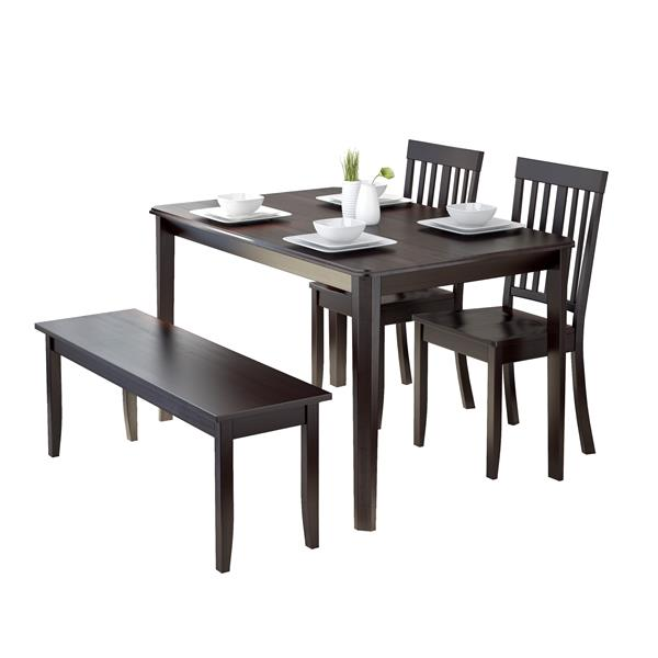 CorLiving 4-Piece Cappuccino Dining Set with 1 Bench and 2 Chairs
