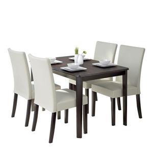 Ensemble de salle à manger, bois, sièges similicuir, 5 mcx