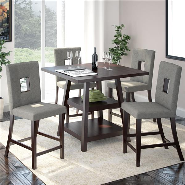 Corliving 36-in Cappuccino Counter Height Grey 5 Piece Dining Set