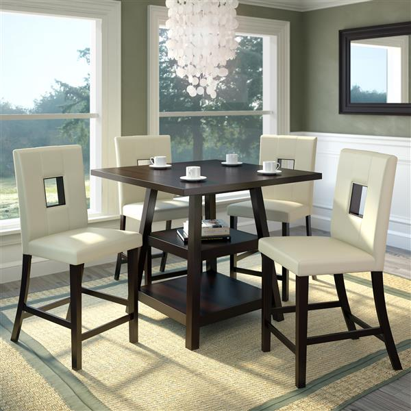 """Ensemble de salle de manger 36"""", chaises similicuir, 5 mcx"""
