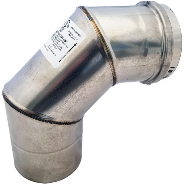 Z-Flex Z-Vent 4-in 90° Stainless Steel Elbow