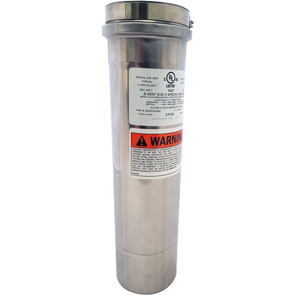 Z-Flex Z-Vent 4-in x 12-in Stainless Steel Single Wall Pipe