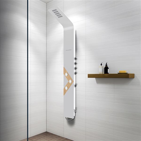 A&E Bath & Shower Vista VIII Black Bath and Shower Panel - White