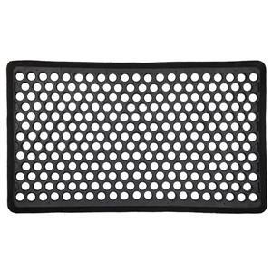 Beveled Ring 18-in x 30-in Black Rubber Door Mat