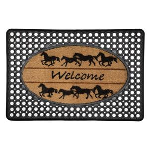 "Paillasson ""Welcome Horses"", caoutchouc/coco, 20'' x 30''"