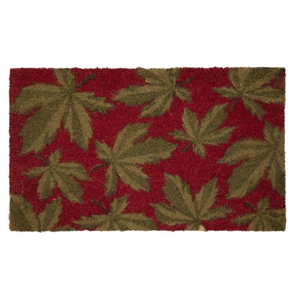 Technoflex 18-in x 30-in Poinsetta Leaves Printed Coco Door Mat