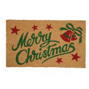 Christmas Bells 18-in x 30-in Printed Coco Door Mat