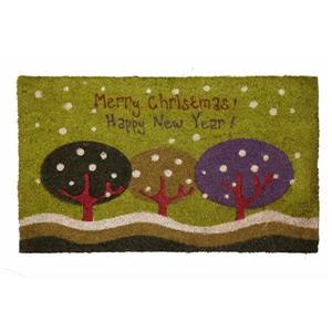 Technoflex 18-in x 30-in Merry Christmas Happy New Year Printed Coco Mat