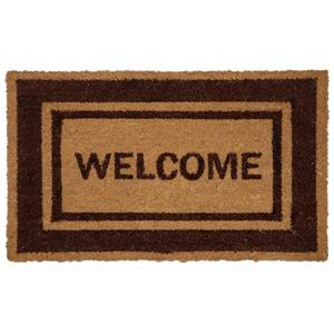 "Paillasson fibre de coco ""Welcome"", bordure brune, 18''x30''"