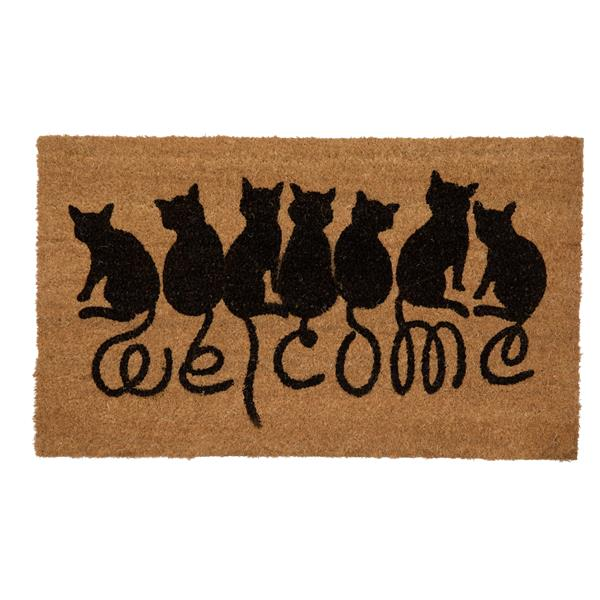 Technoflex 18-in x 30-in Welcome Cats Printed Coco Door Mat
