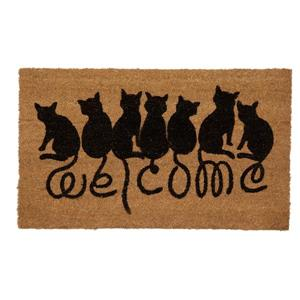 """Paillasson en fibre de coco """"Welcome Cats"""", 18"""" x 30"""""""