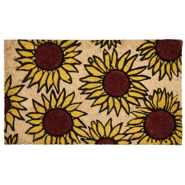 Technoflex 18-in x 30-in Sun Flowers Printed Coco Door Mat