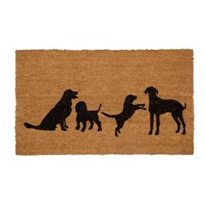 Technoflex 18-in x 30-in Four Dogs Printed Coco Door Mat
