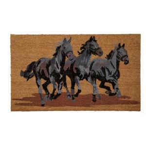 Technoflex 18-in x 30-in Three Horses Printed Coco Door Mat