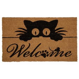 Technoflex 18-in x 30-in Peeking Cat Printed Coco Door Mat
