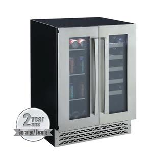 Marathon Black 46-Bottle French Doors Dual Zone Wine and Beverage Cooler