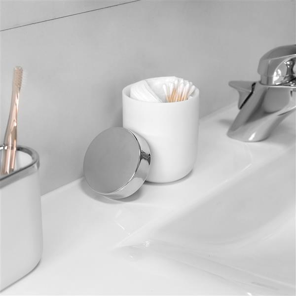Umbra Chrome/White Bathroom Canister with Lid