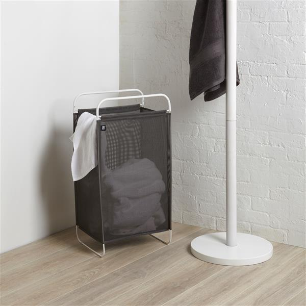 Umbra LTD Cinch 30-In x 12-In x 16-In Grey/ White Laundry Hamper