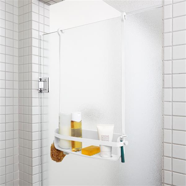 Support de douche avec étagère, blanc