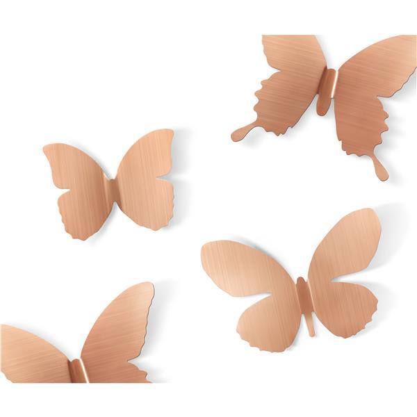 Décoration murale de papillons Mariposa, cuivré, 9 mcx