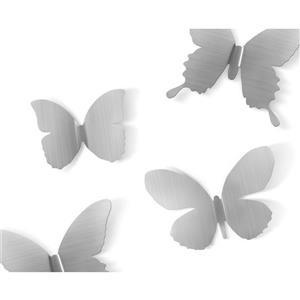 Décoration murale de papillons Mariposa, nickel, 9 mcx