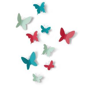 Décoration murale de papillons Mariposa, assortis, 9 mcx