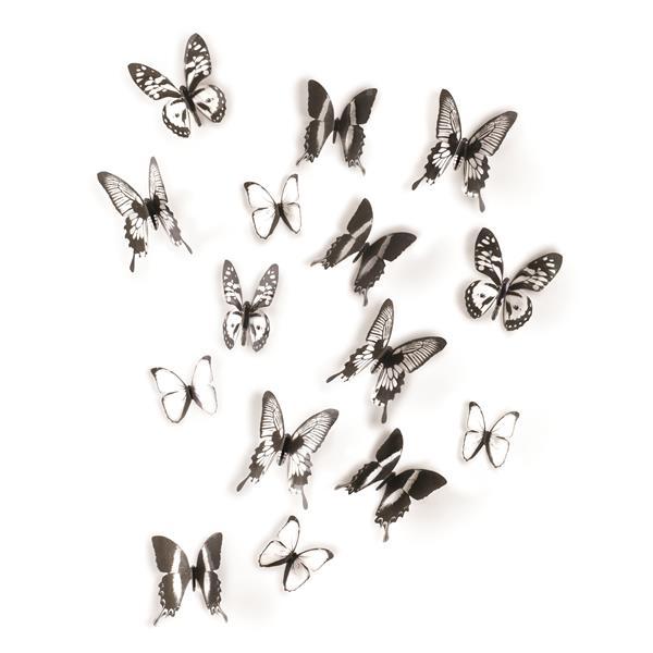 Décoration murale de papillons Chrysalis, noir/clair, 16 mcx