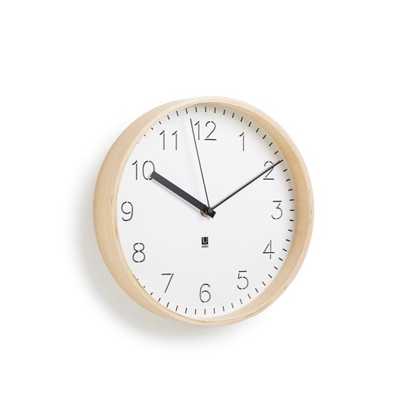 Umbra 10-in White and Natural Rimwood Wall Clock