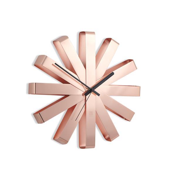 """Horloge murale Ribbon, cuivre, 12"""""""