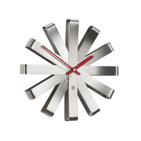 """Horloge murale Ribbon, nickel , 12"""""""