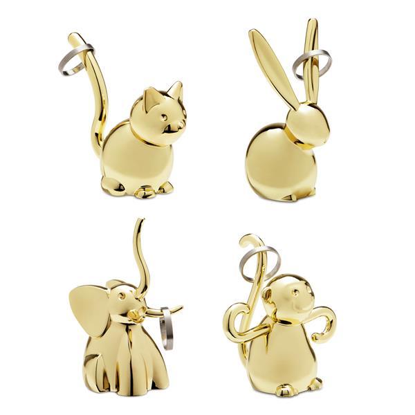 Umbra Zoola Brass Animal Ring Holder (Set of 4)