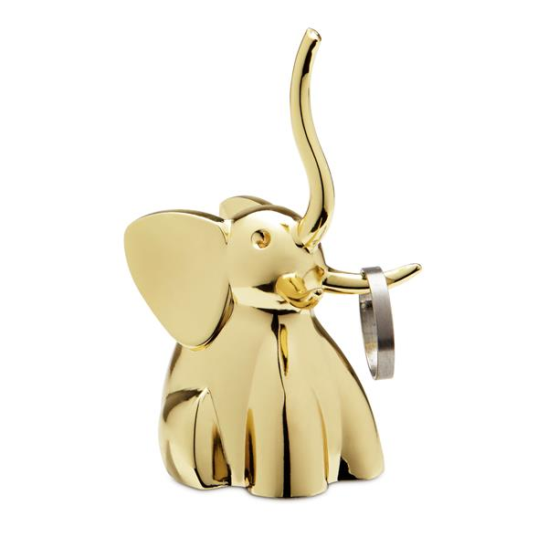 Umbra Zoola 2.80-in x 1.50-in x 1.50-in Brass Elephant Ring Holder