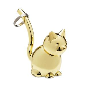 Umbra Zoola 1.25-in x 2.50-in x 3-in Brass Cat Ring Holder