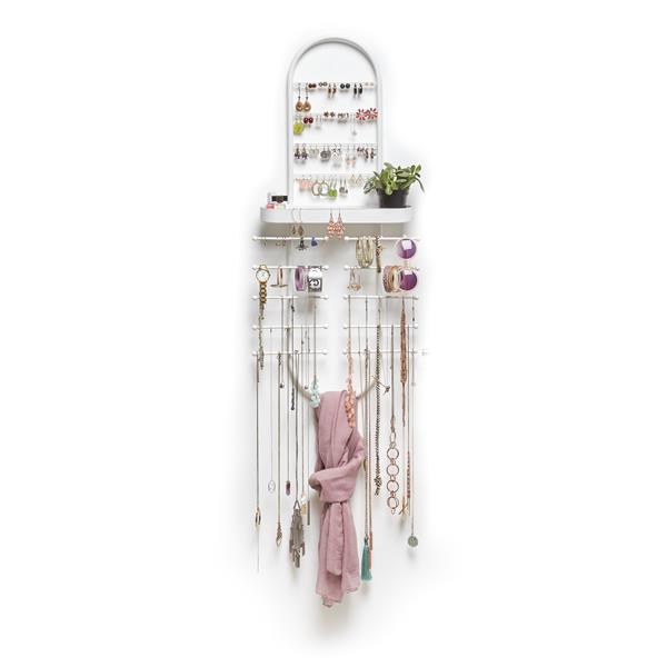Umbra Valerina 36.75-in x 4.5-in x 16.5-in Over The Door White Jewelry Organizer