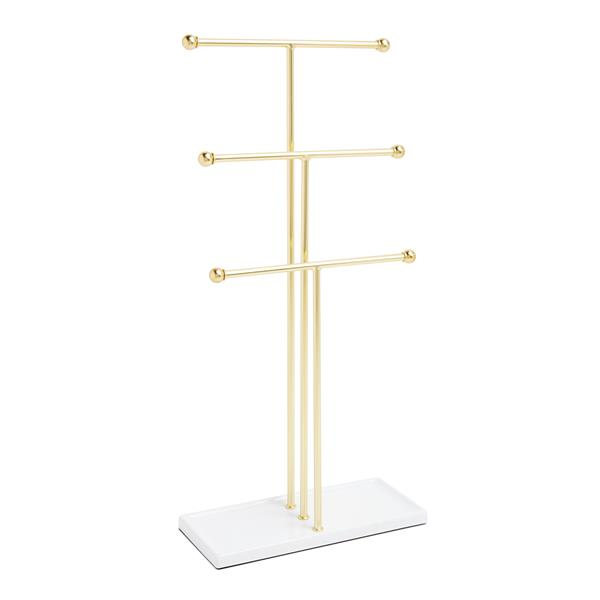 Umbra Trigem 18.88-in x 4-in x 9-in White Brass Jewelry Stand